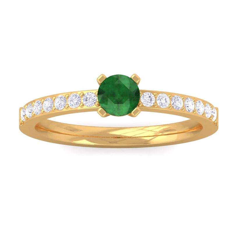 Green-Emerald-FG-SI-Diamonds-Gemstone-Ring-Women-Dailywear-18K-Yellow-Gold