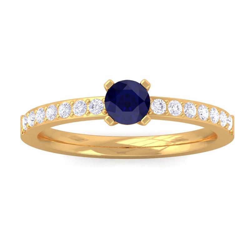 Blue-Sapphire-Diamonds-Solitaire-Gemstone-Ring-Women-Dailywear-10K-Yellow-Gold