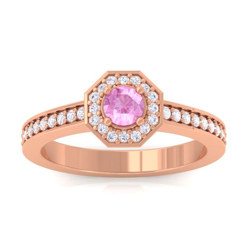 Pink-Sapphire-Round-Gemstone-Diamond-Engagement-Ring-Women-14K-Rose-Gold