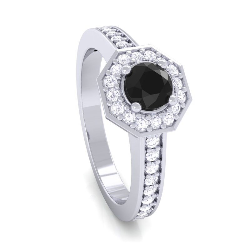 Black yx IJ SI Gemstone Diamond Engagement Ring Women 14K Gold