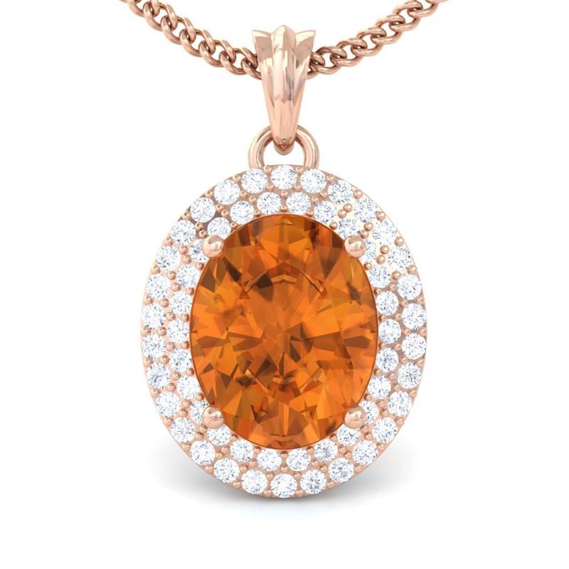 Orange-Citrine-IJ-SI-Fine-Diamonds-Oval-Gemstone-Pendant-Women-18K-Rose-Gold