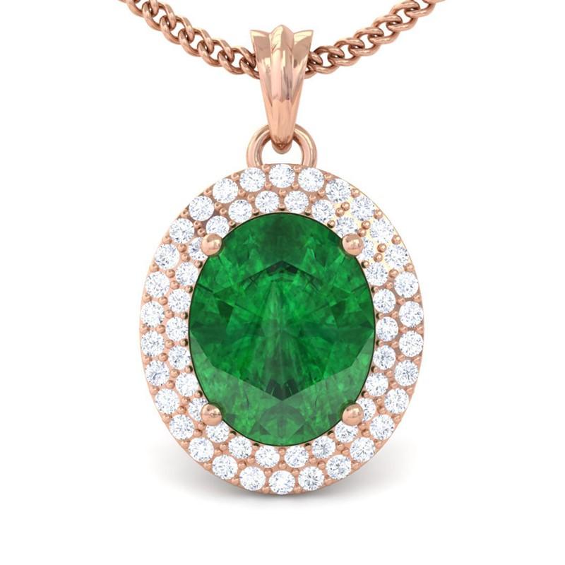 Green-Emerald-FG-SI-Fine-Diamonds-Oval-Gemstone-Pendant-Women-18K-Rose-Gold