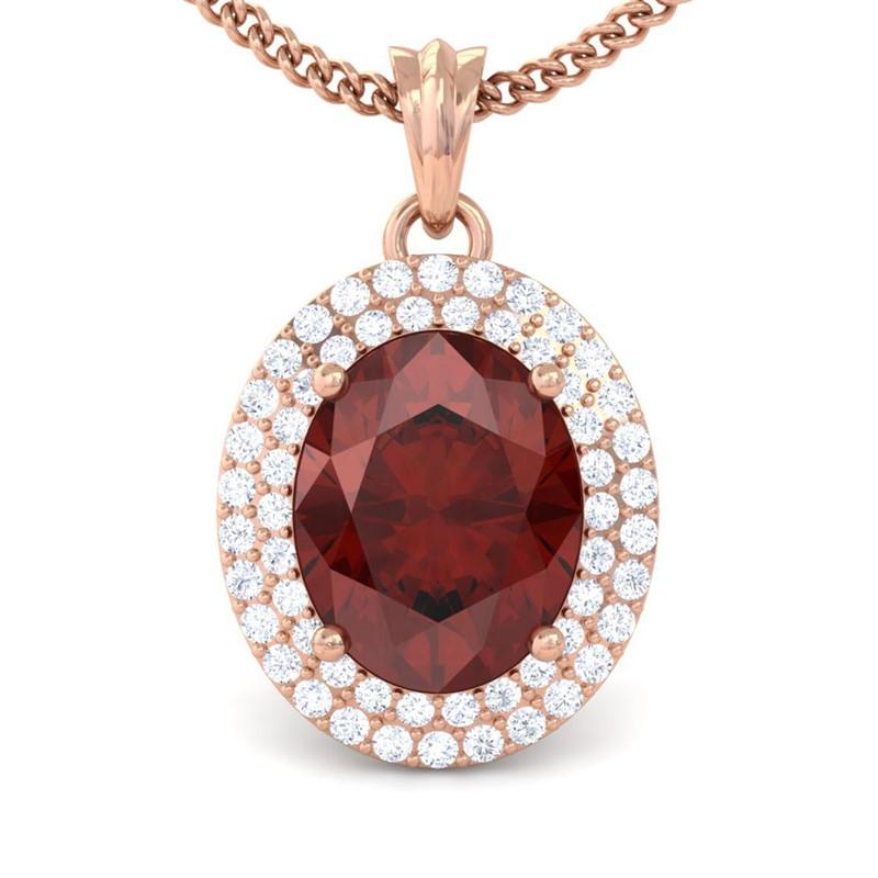 Red-Garnet-FG-SI-Fine-Diamonds-Oval-Gemstone-Pendant-Women-10K-Rose-Gold
