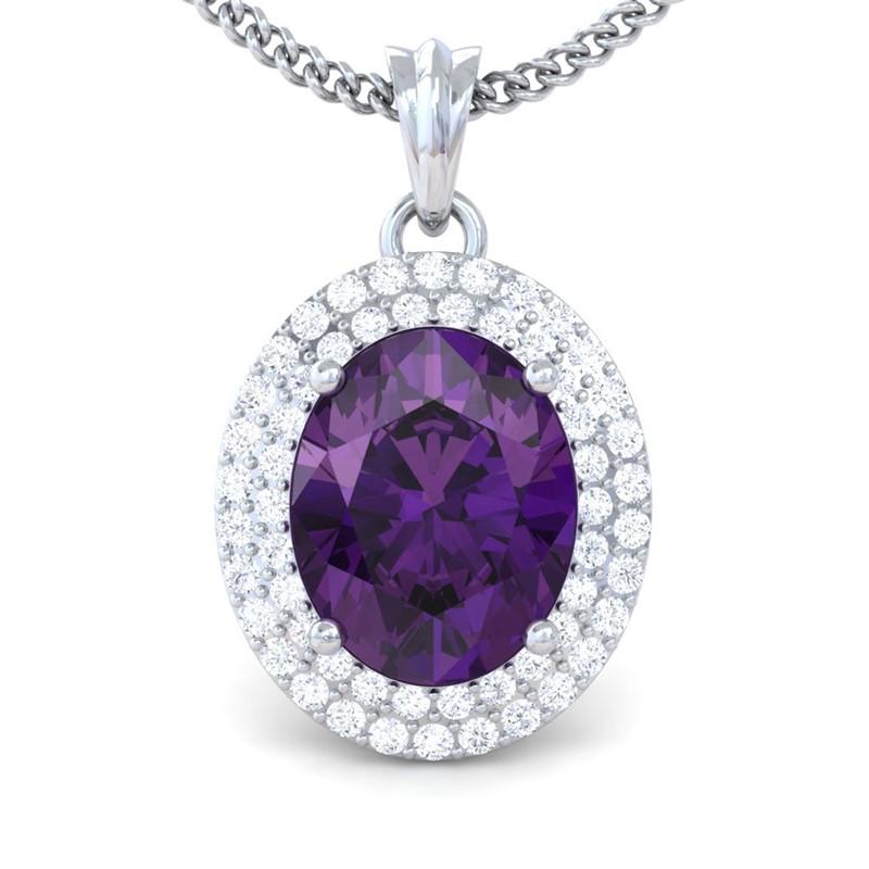Purple-Amethyst-FG-SI-Fine-Diamonds-Oval-Gemstone-Pendant-Women-14K-Gold