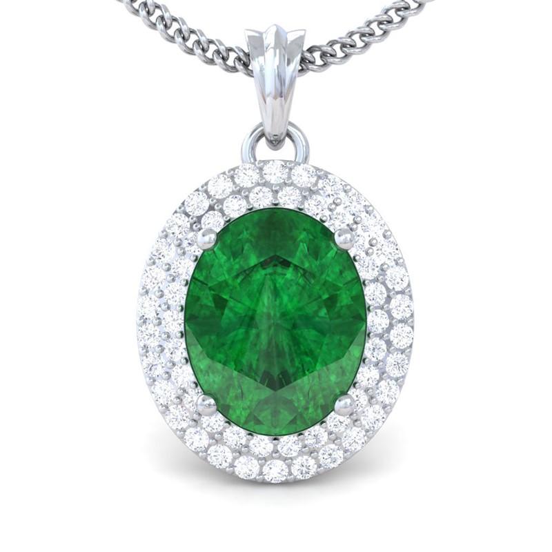 Green-Emerald-FG-SI-Fine-Diamonds-Oval-Gemstone-Pendant-Women-14K-White-Gold