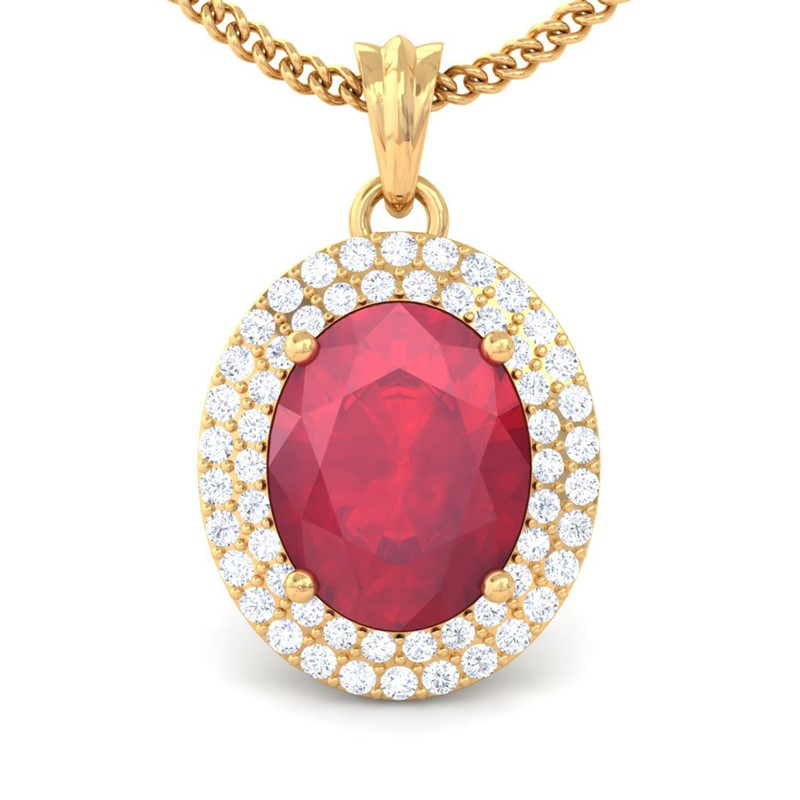 Red-Ruby-FG-SI-Fine-Diamonds-Oval-Gemstone-Pendant-Women-18K-Yellow-Gold