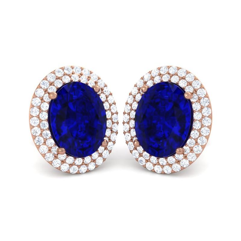 Blue-Sapphire-GH-VVS-Diamond-Oval-Gemstone-Stud-Earrings-Women-10K-Rose-Gold
