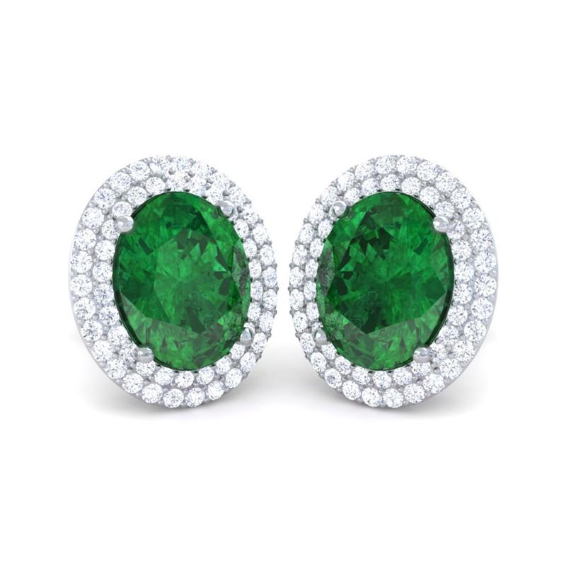 Green-Emerald-IJ-SI-Diamond-Oval-Gemstone-Stud-Earrings-Women-10K-White-Gold