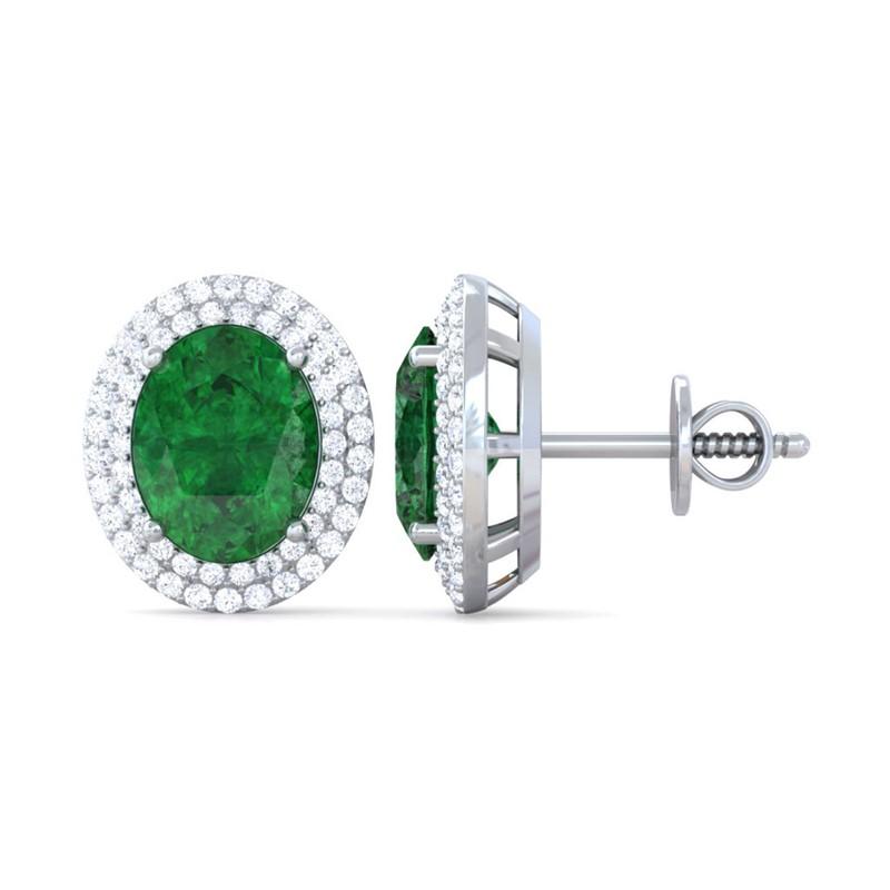 Green-Emerald-FG-SI-Diamond-Oval-Gemstone-Stud-Earrings-Women-18K-Gold