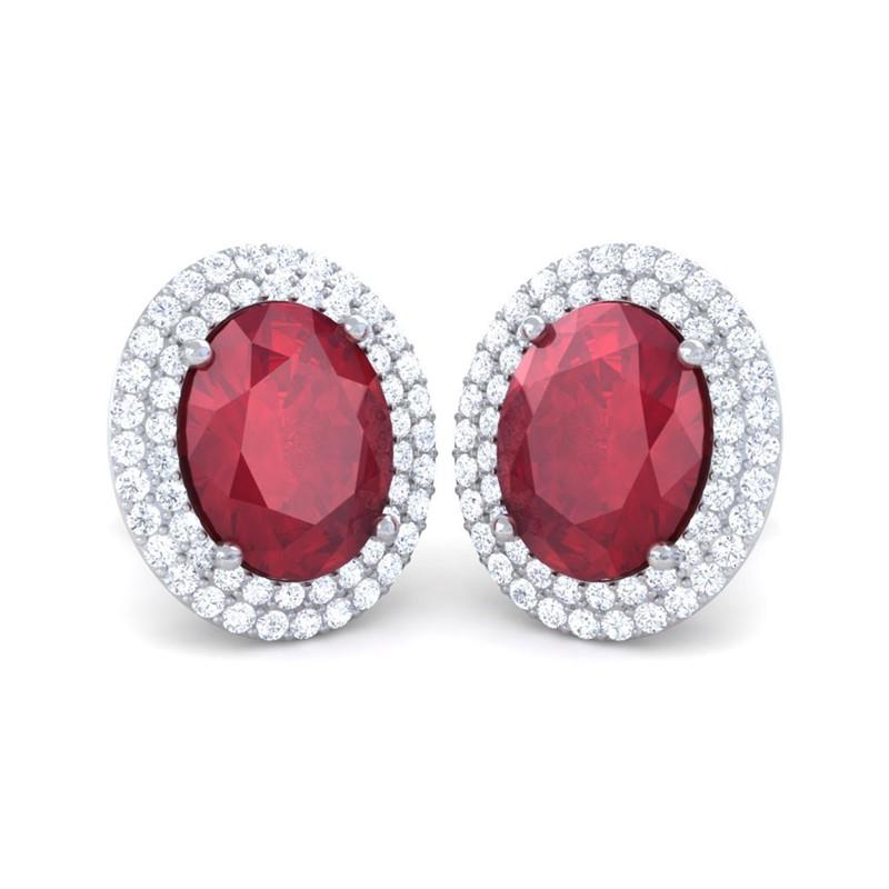 Red-Ruby-FG-SI-Diamond-Oval-Gemstone-Stud-Earrings-Women-14K-White-Gold