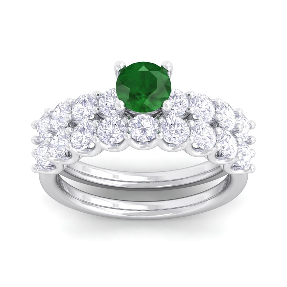 ye cut engagement diamond solitaire emerald ring white gold