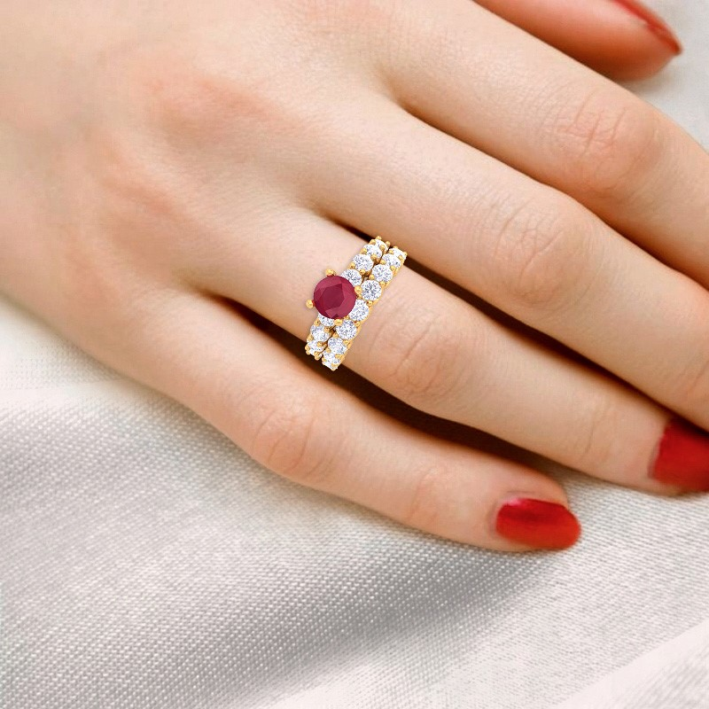 Red-Ruby-IJ-SI-Diamonds-Solitaire-Gemstone-Dual-Ring-Set-Solid-Gold-Certified