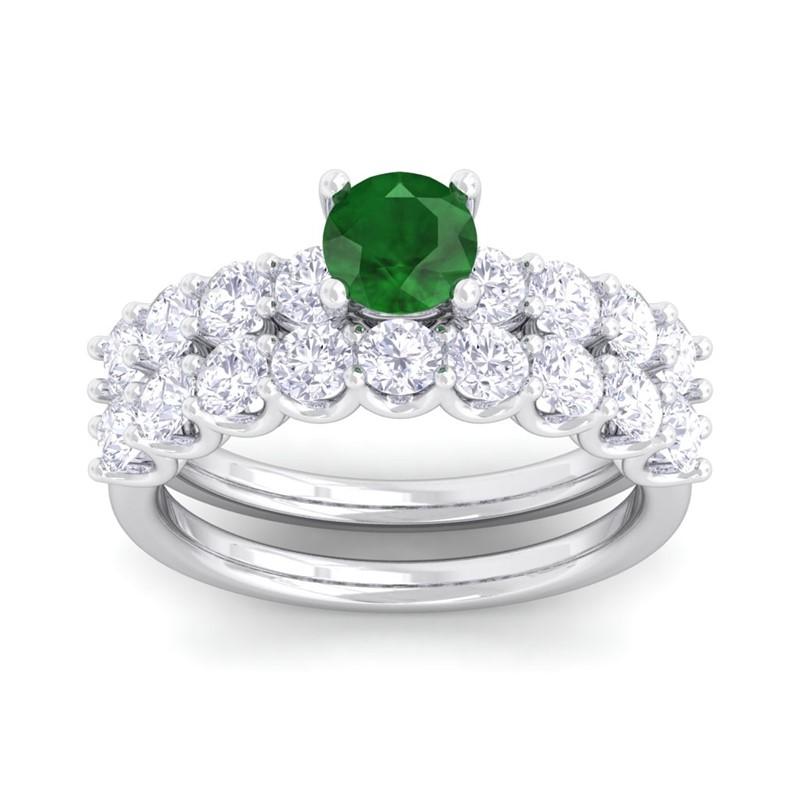 Green-Emerald-IJ-SI-Diamonds-Solitaire-Gemstone-Dual-Ring-Set-14K-White-Gold