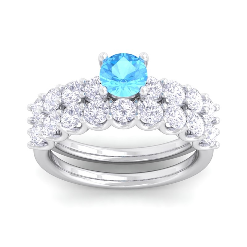 Blue-Topaz-IJ-SI-Diamonds-Solitaire-Gemstone-Dual-Ring-Set-14K-White-Gold