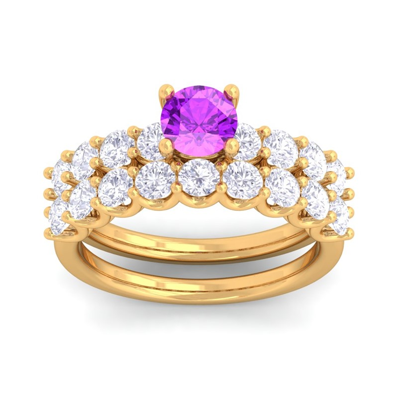 Purple-Amethyst-IJ-SI-Diamonds-Solitaire-Gemstone-Dual-Ring-Set-Yellow-Gold