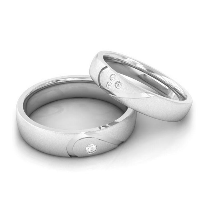0-06ct-FG-SI-Fine-Diamond-Heart-Promise-Couple-Wedding-Band-14K-White-Gold