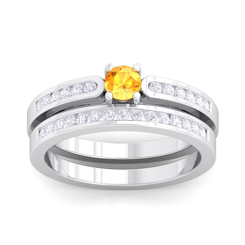 Orange-Citrine-IJ-SI-Solitaire-Gem-side-stone-Engagement-Ring-10K-White-Gold