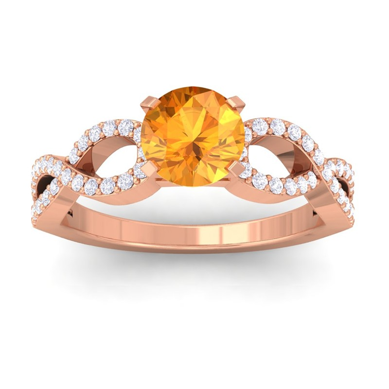 Orange-Citrine-FG-SI-Diamond-Women-Gem-Wedding-Engagement-Ring-14K-Rose-Gold