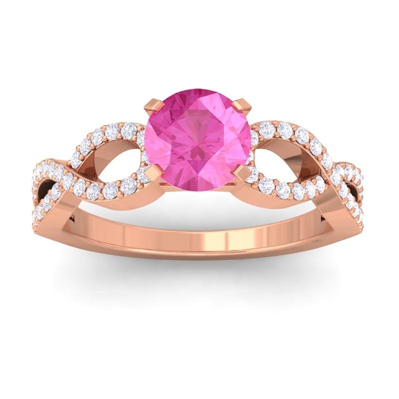 Pink-Sapphire-FG-SI-Diamond-Women-Gem-Wedding-Engagement-Ring-14K-Rose-Gold