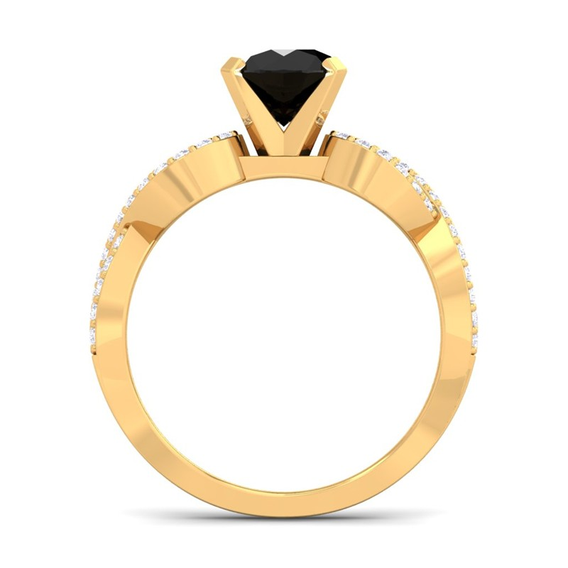 Black-Onyx-GH-VS-Diamond-Women-Gem-Wedding-Engagement-Ring-Yellow-Gold