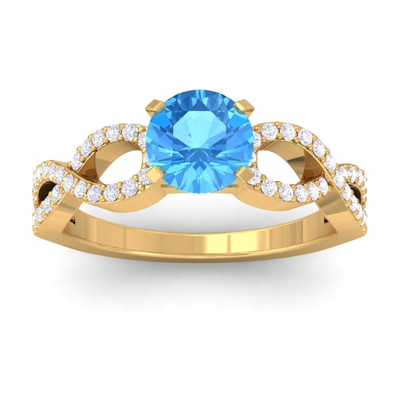 Blue-Topaz-GH-VS-Diamond-Women-Gem-Wedding-Engagement-Ring-Yellow-Gold