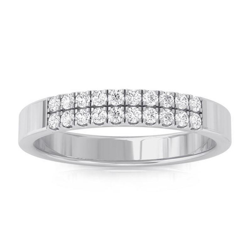 0-19ct-FG-SI-Natural-Round-Diamonds-Womens-Classic-Wedding-Band-14K-White-Gold