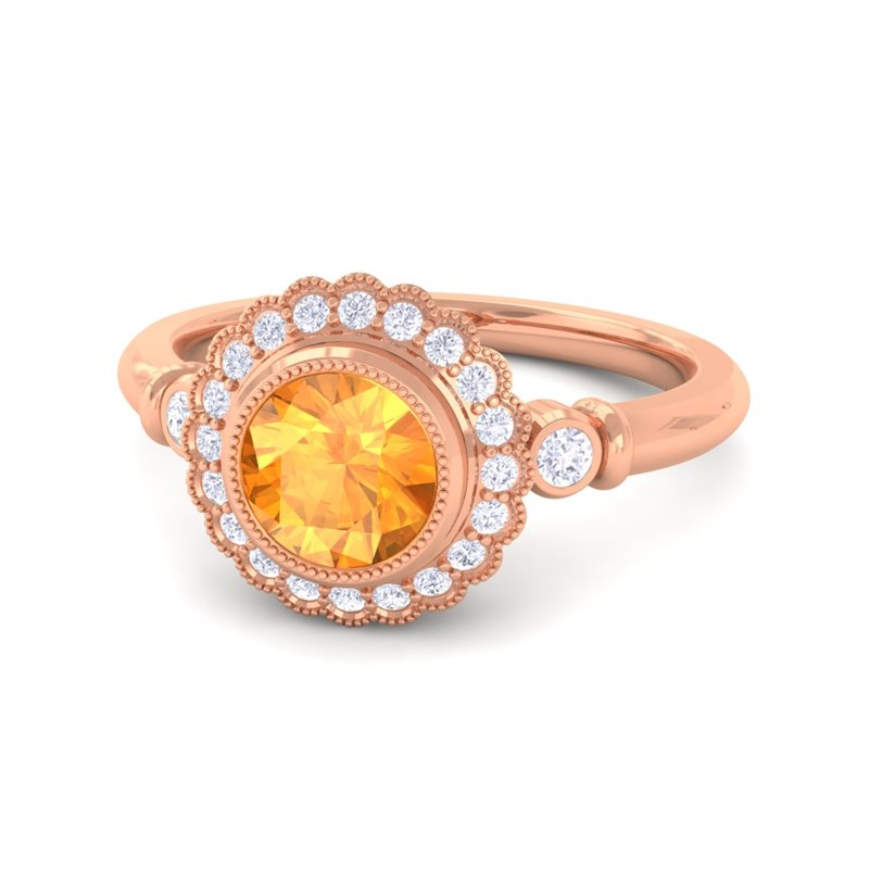 orange citrine ij si diamonds gemstone engagement ring