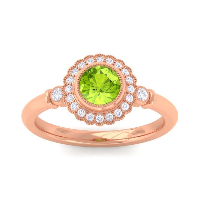 Green-Peridot-FG-SI-Diamonds-Gemstone-Engagement-Ring-Women-18K-Rose-Gold
