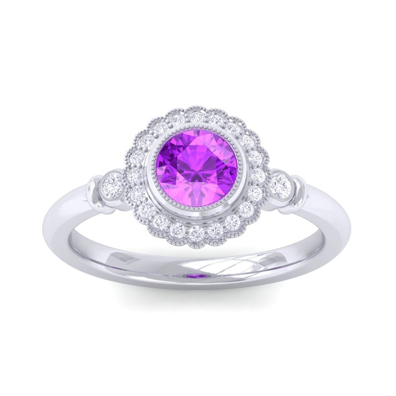 purple amethyst ij si diamonds gemstone engagement ring