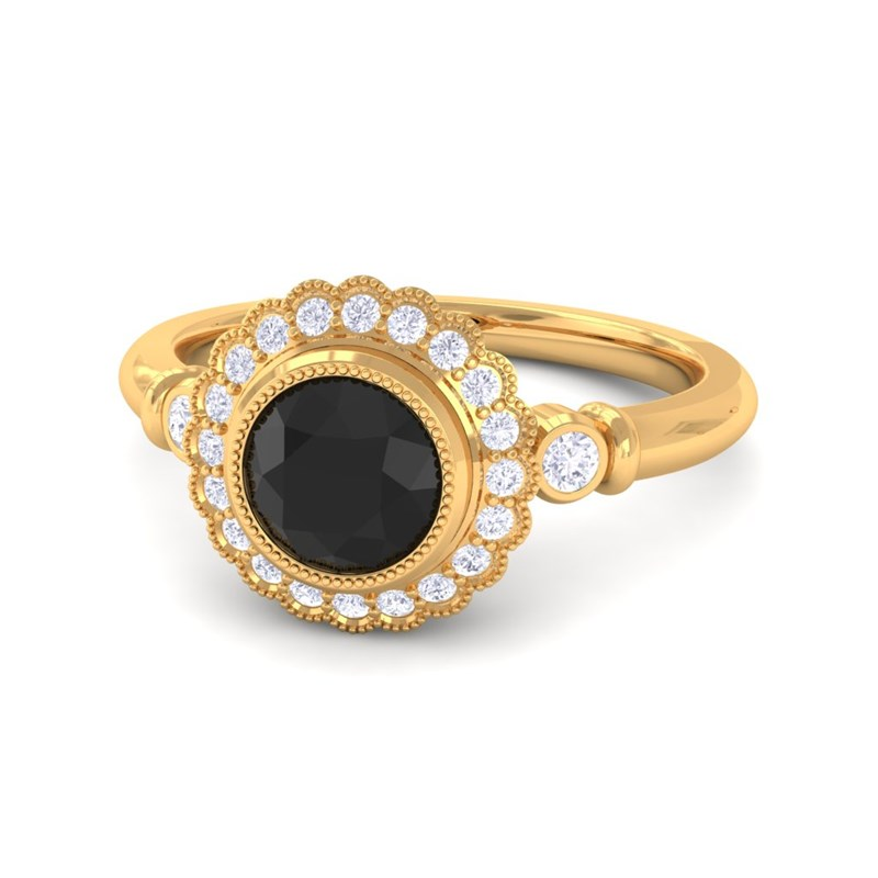 Black yx Three Stone Diamond Engagement Ring 10K Yellow Gold Venetia