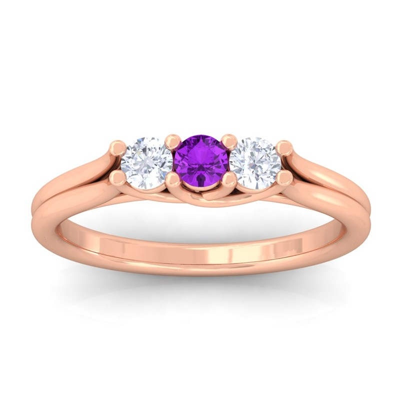 Purple-Amethyst-FG-SI-Gemstone-Diamond-Three-Stone-Women-Ring-18K-Gold