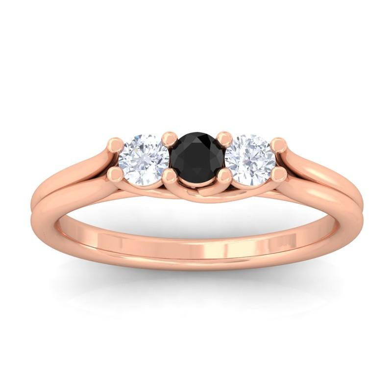 Black-Onyx-FG-SI-Gemstone-Diamond-Three-Stone-Women-Ring-18K-Gold