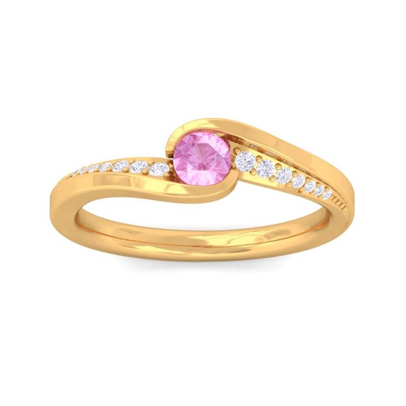 Pink-Sapphire-IJ-SI-Round-Gemstone-Diamonds-Dailywear-Ring-18K-Yellow-Gold