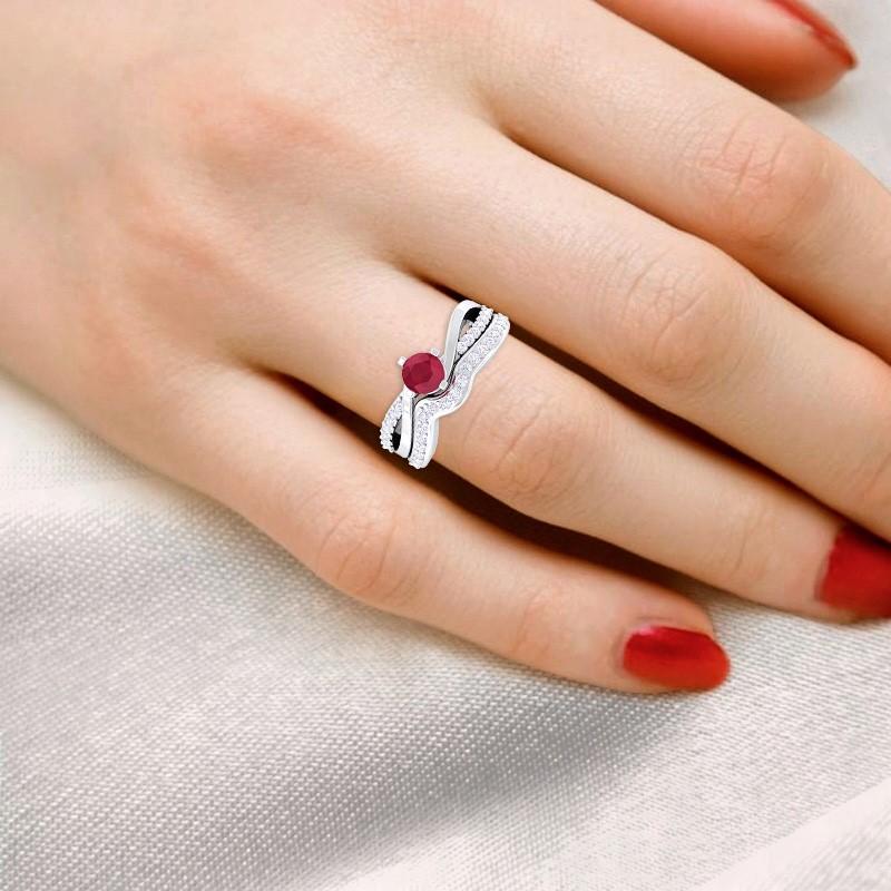 Red-Ruby-FG-SI-Gemstone-Diamond-Twisted-Wedding-Ring-Set-18K-Gold