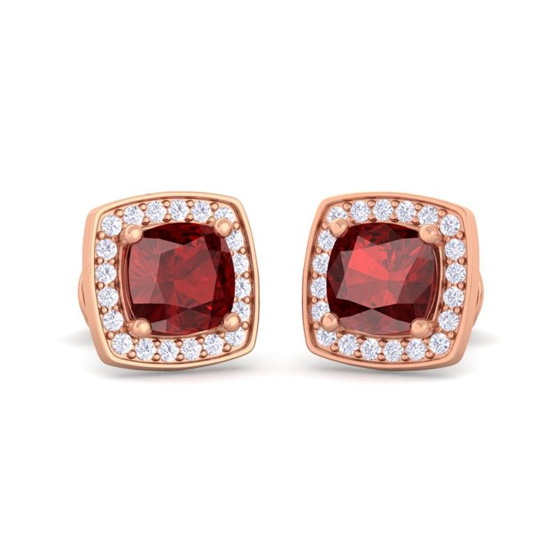Red-Garnet-FG-SI-Diamond-Cushion-Gemstone-Stud-Earring-10K-Rose-Gold