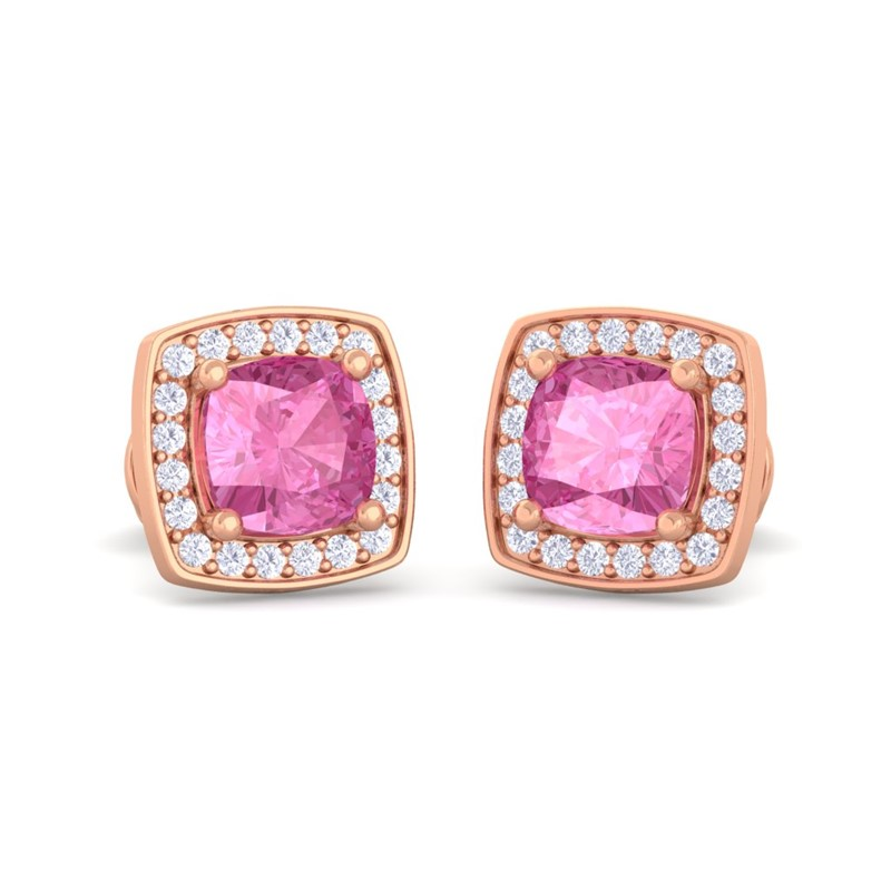 Pink-Sapphire-EF-VVS-Diamond-Cushion-Gemstone-Stud-Earring-10K-Rose-Gold