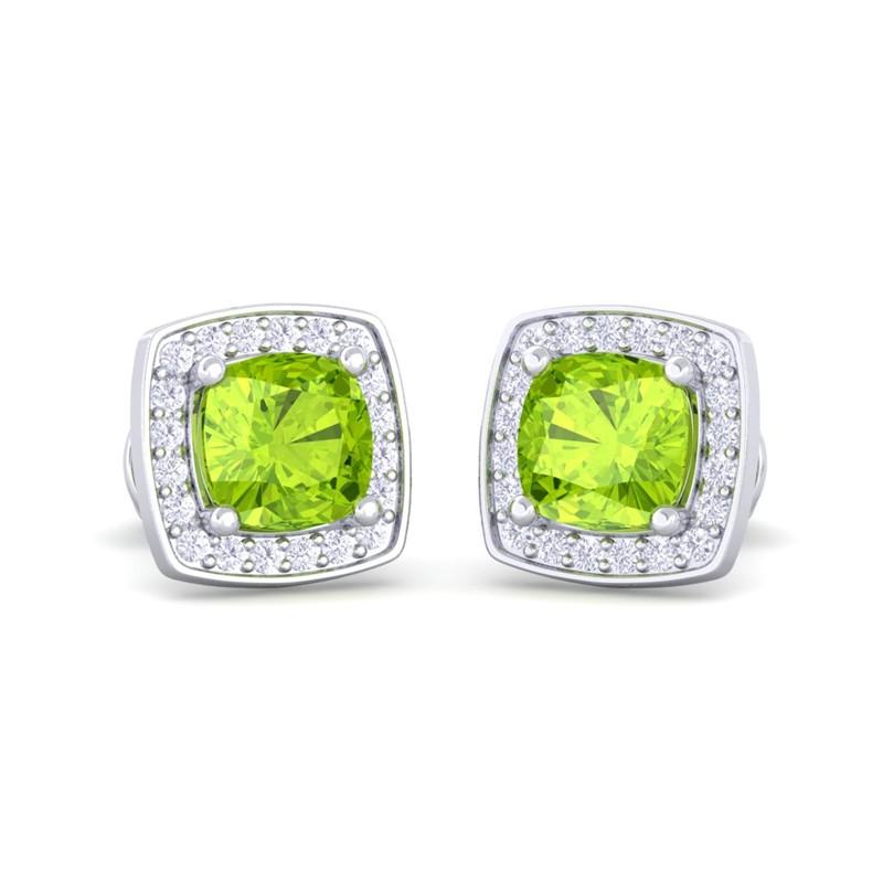 Green-Peridot-FG-SI-Diamond-Cushion-Gemstone-Stud-Earring-10K-White-Gold