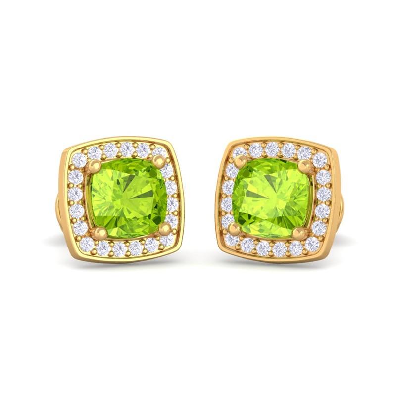 10k-Yellow-Gold-Green-Peridot-Diamond-Cushion-Gemstone-Stud-Earring