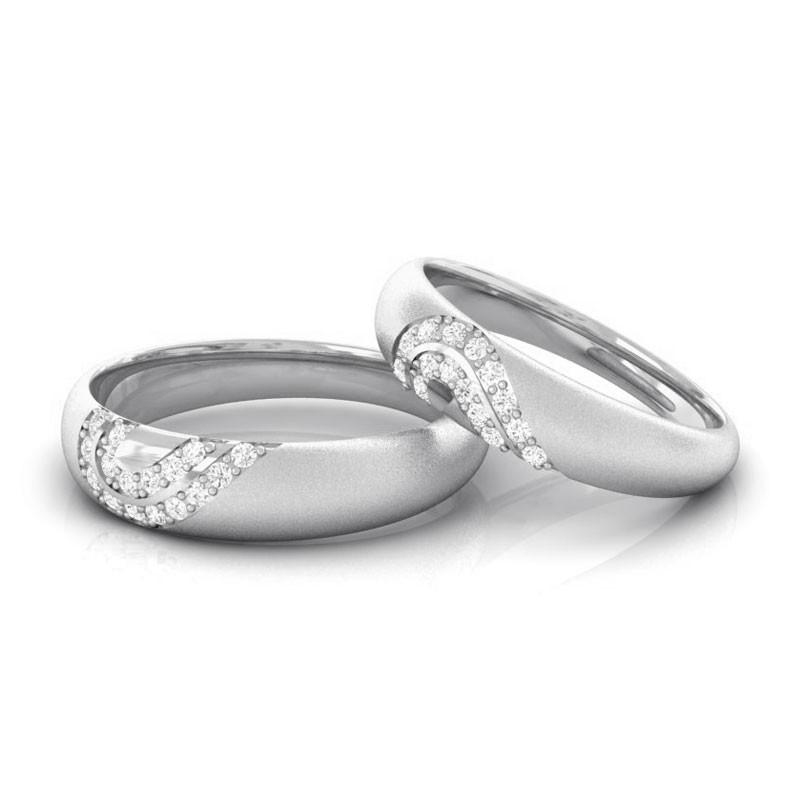 0-19ct-IJ-SI-Fine-Diamonds-Heart-Promise-Couple-Wedding-Rings-14K-White-Gold