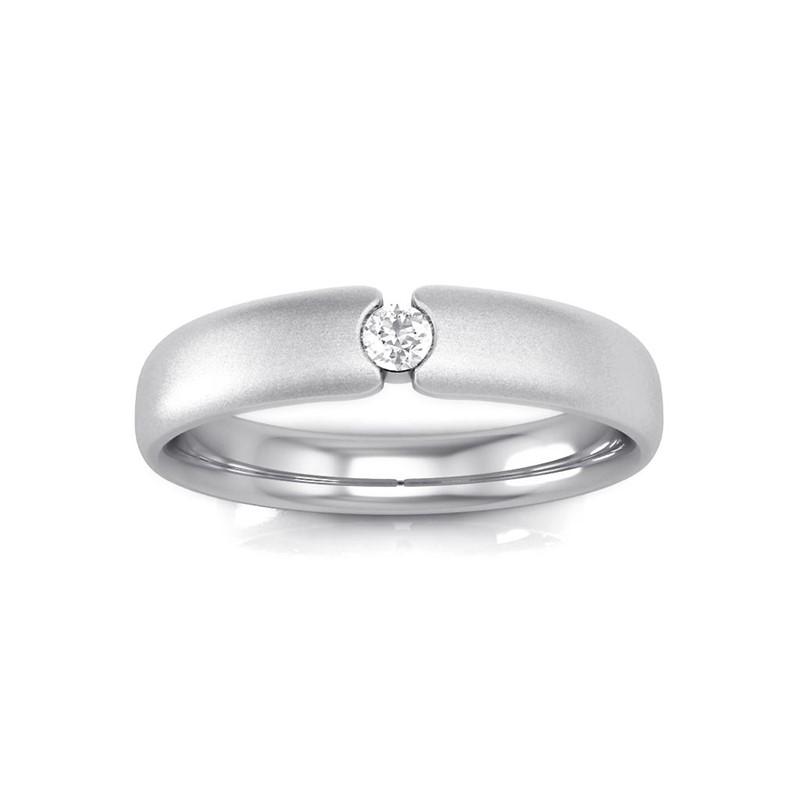 0-10ct-FG-SI-Simple-Matte-Mens-Round-Diamond-Anniversary-Ring-10K-White-Gold