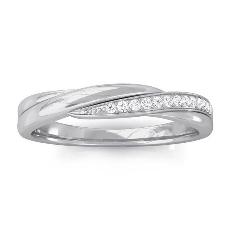 0-08ct-FG-SI-Natural-Diamonds-Twisted-Womens-Fashion-Band-Ring-14K-White-Gold