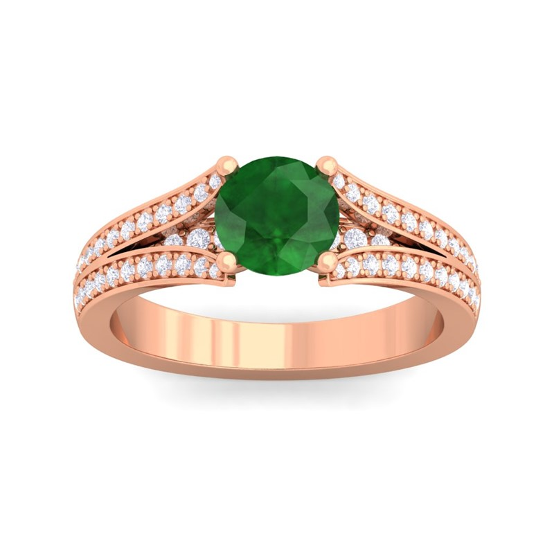 Green Emerald Gemstone Engagement Ring In 10K gold