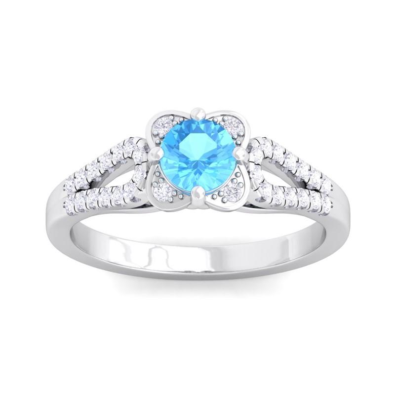 bluee Topaz FG SI Sparkling Gemstone Natural Diamonds Ring 14K White gold